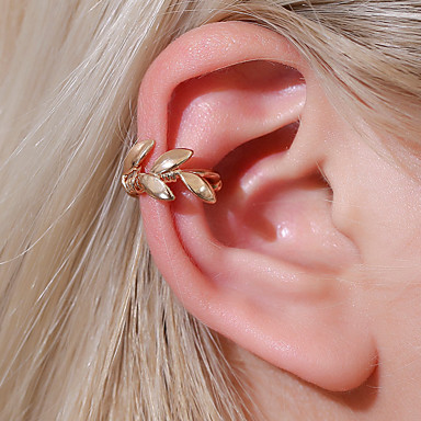 cheap Earrings-Women's Clip on Earring Ear Cuff Retro Leaf Earrings Jewelry Gold / Silver For Graduation Engagement Daily Holiday Festival