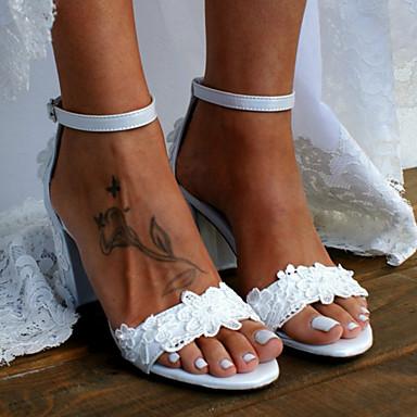 cheap Wedding Shoes-Women's Wedding Shoes Chunky Heel Open Toe Satin Flower Satin Sweet / Minimalism Summer / Spring & Summer White