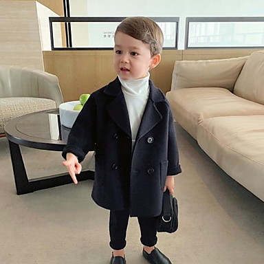 cheap Boys' Clothing-Kids Boys' Basic Color Block Solid Colored Jacket & Coat Black