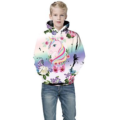 cheap Boys' Hoodies & Sweatshirts-Kids Boys' Active Punk & Gothic Color Block 3D Plaid Long Sleeve Hoodie & Sweatshirt White