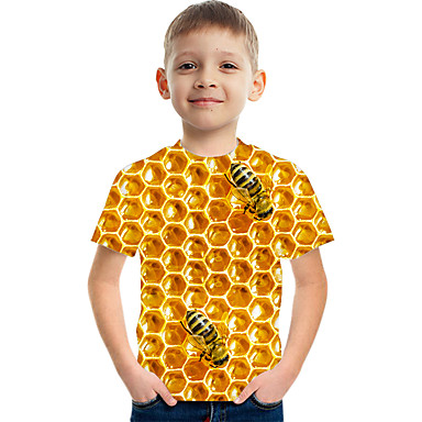 cheap Boys' Clothing-Kids Boys' Basic Street chic Color Block 3D Print Short Sleeve Tee Yellow