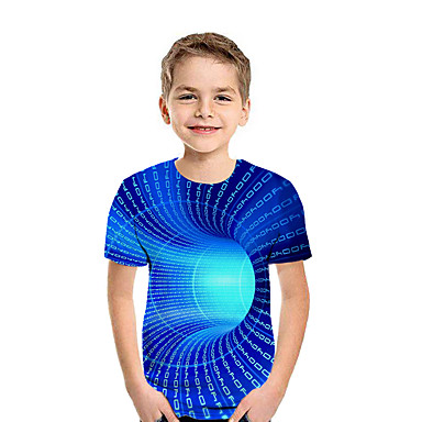 cheap Boys' Clothing-Kids Boys' Active Street chic Geometric 3D Patchwork Print Short Sleeve Tee Rainbow