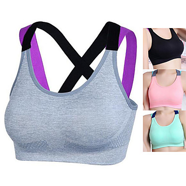 cheap Sports Underwear & Socks-Women's Sports Bra Sports Bra Top Bralette Nylon Yoga Exercise & Fitness Running Fast Dry No Padded Black Pink Grey Green Solid Colored
