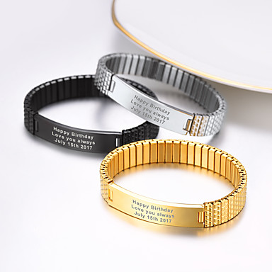 cheap Engraved Bracelets-Personalized Customized Bracelet 18K Gold Plated Stainless Steel 1pc / pack Golden Black Silver