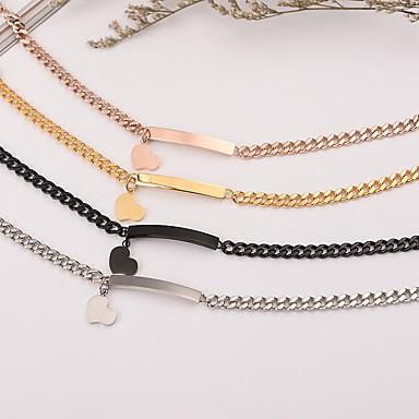 cheap Engraved Bracelets-Personalized Customized Bracelet Stainless Steel Geometric Golden Rose Gold Black