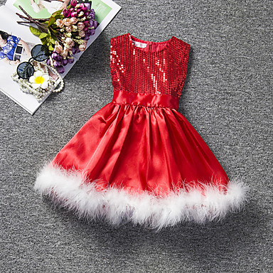 cheap Baby & Kids-Kids Girls' Cute Solid Colored Lace Pleated Sleeveless Knee-length Dress Red