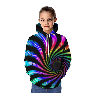 cheap Baby & Kids-Kids Girls' Basic Tie Dye Graphic Long Sleeve Hoodie & Sweatshirt Rainbow
