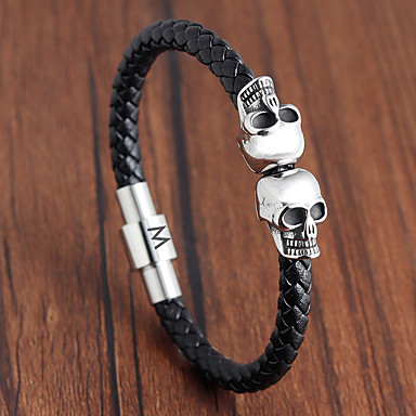 cheap Engraved Bracelets-Personalized Customized Bracelet Titanium Steel Skull Gift Daily irregular 1pcs Silver / Laser Engraving