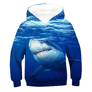 cheap Boys' Clothing-Kids Boys' Active Basic 3D Animal Long Sleeve Hoodie & Sweatshirt Blue