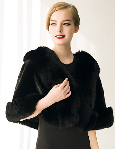 cheap Wedding Wraps-Sleeveless Capelets Faux Fur Wedding / Party Evening / Casual Women's Wrap With Feathers / Fur