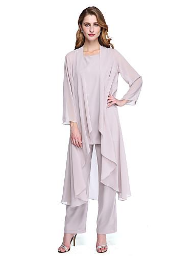 cheap Mother of the Bride Dresses-Pantsuit / Jumpsuit Bateau Neck Floor Length Chiffon Long Sleeve Plus Size / Elegant Mother of the Bride Dress with Crystals / Sash / Ribbon 2020