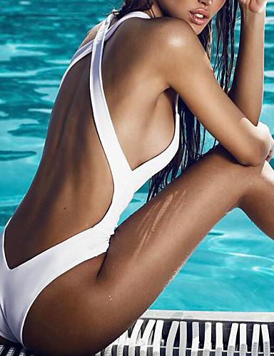 cheap Women's Swimwear-Women's Basic Sexy One-piece Swimsuit Backless Back Cross Solid Colored Strap Swimwear Bathing Suits White Black / Padded Bras