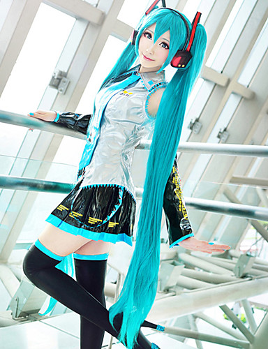 cheap Anime Cosplay-Vocaloid Hatsune Miku Cosplay Wigs Women's 48 inch Heat Resistant Fiber Black Dark Green Yellow Anime