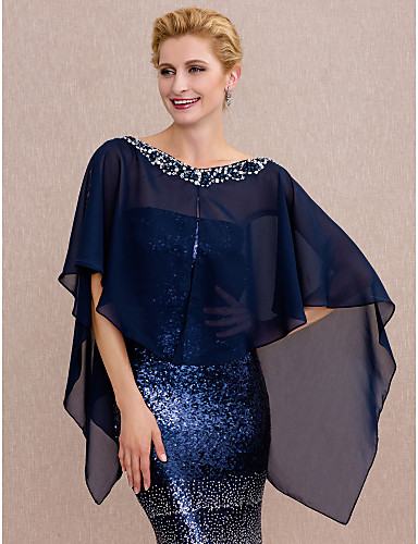 cheap Wedding Wraps-Capes Chiffon Wedding / Party / Evening Women's Wrap With Buttons / Beading
