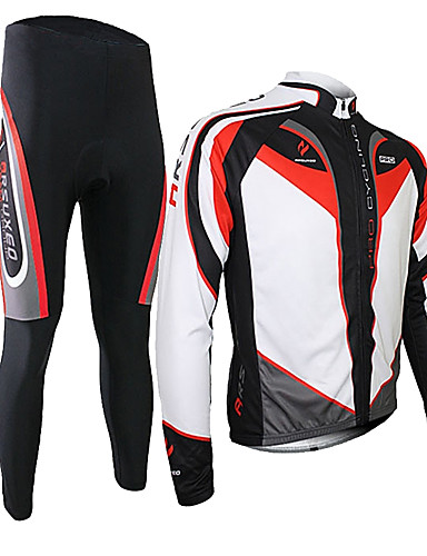 cheap Cycling-Arsuxeo Men's Long Sleeve Cycling Jersey with Tights Spandex Silicon Polyester Black / Red Purple Yellow Patchwork Bike Clothing Suit Thermal / Warm Breathable 3D Pad Quick Dry Limits Bacteria Sports