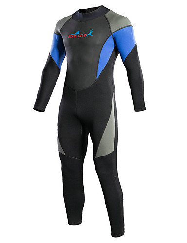 cheap Surfing, Diving & Snorkeling-Bluedive Men's Women's Full Wetsuit 3mm Neoprene Diving Suit Thermal / Warm Quick Dry Long Sleeve Back Zip - Swimming Diving Surfing Patchwork / Stretchy