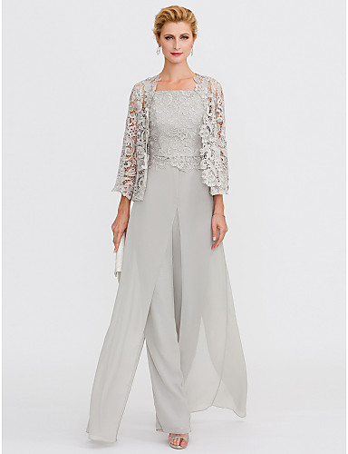 cheap Fast Delivery-Pantsuit / Jumpsuit Mother of the Bride Dress Elegant Plus Size Square Neck Floor Length Chiffon Corded Lace Sleeveless with Lace Appliques 2020 Mother of the groom dresses
