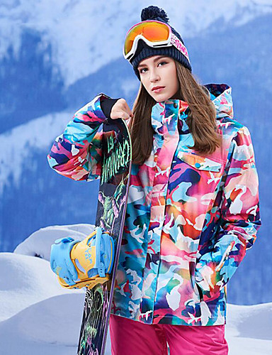 cheap Ski & Snowboard-GSOU SNOW Women's Ski Jacket Ski / Snowboard Winter Sports Thermal / Warm Waterproof Windproof 100% Polyester Winter Jacket Top Ski Wear / Breathable / Floral Botanical / Breathable