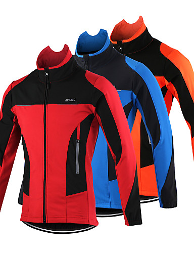 cheap Cycling-Arsuxeo Men's Cycling Jacket Bike Jacket Top Thermal / Warm Windproof Breathable Sports Polyester Spandex Fleece Winter Orange / Red / Blue Mountain Bike MTB Road Bike Cycling Clothing Apparel