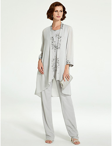 cheap Mother of the Bride Dresses-Pantsuit / Jumpsuit Bateau Neck Floor Length Chiffon / Lace Sleeveless Plus Size / Elegant Mother of the Bride Dress with Ruffles 2020