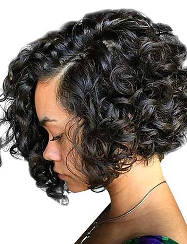 cheap Human Hair Wigs-100% Virgin Human Hair Lace Front Wig Brazilian Hair Curly Wig Bob 130% 150% 180% Density with Baby Hair Women's Medium Length Human Hair Lace Wig
