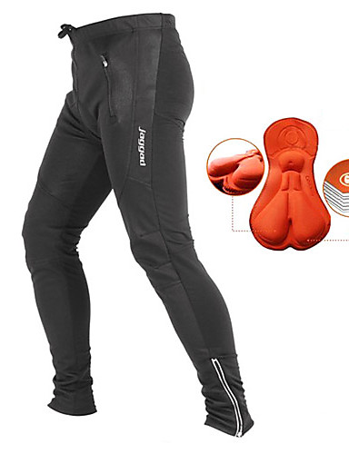 cheap Cycling-Jaggad Men's Cycling Pants Black Solid Color Bike Pants / Trousers Tights Pants Thermal / Warm Breathable 3D Pad Sports Winter Nylon Mountain Bike MTB Road Bike Cycling Clothing Apparel / Quick Dry