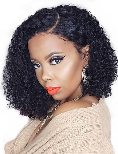 cheap Human Hair Wigs-Remy Human Hair 13x6 Closure Wig Bob Asymmetrical Deep Parting style Brazilian Hair Deep Curly Natural Wig 150% Density with Baby Hair Natural Hairline African American Wig For Black Women With