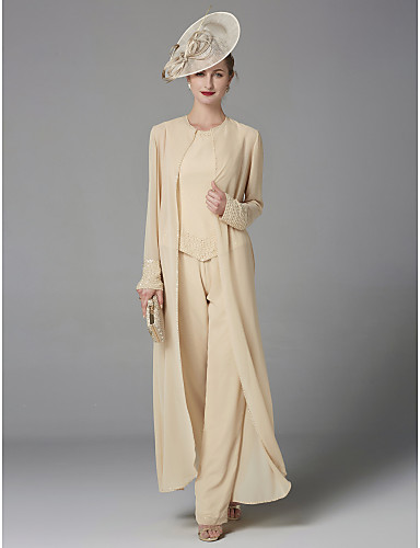 cheap Mother of the Bride Dresses-Pantsuit / Jumpsuit Bateau Neck Floor Length Chiffon Sleeveless Plus Size / Elegant Mother of the Bride Dress with Beading / Appliques 2020