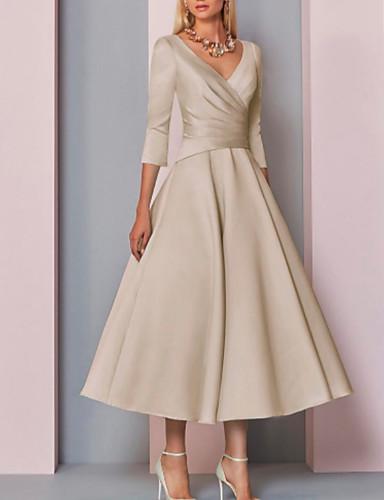 cheap Mother of the Bride Dresses-A-Line V Neck Ankle Length Satin 3/4 Length Sleeve Vintage / Plus Size / Elegant Mother of the Bride Dress with Pleats 2020