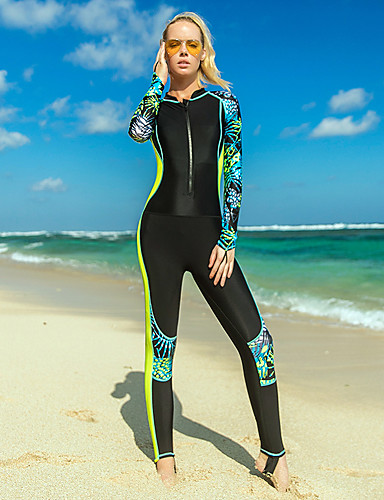 cheap Surfing, Diving & Snorkeling-SBART Women's Rash Guard Dive Skin Suit Nylon Diving Suit UV Sun Protection Breathable Quick Dry Full Body Front Zip - Swimming Surfing Snorkeling Leaves Print Spring, Fall, Winter, Summer / Stretchy