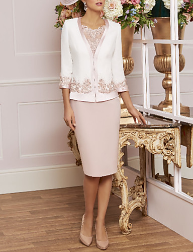 cheap Mother of the Bride Dresses-Sheath / Column Jewel Neck Knee Length Lace / Jersey 3/4 Length Sleeve Wrap Included Mother of the Bride Dress with Beading / Appliques 2020