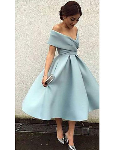 cheap Homecoming 2019-A-Line Plunging Neck Tea Length Matte Satin Cute Cocktail Party / Holiday Dress 2020 with Ruched / Pleats