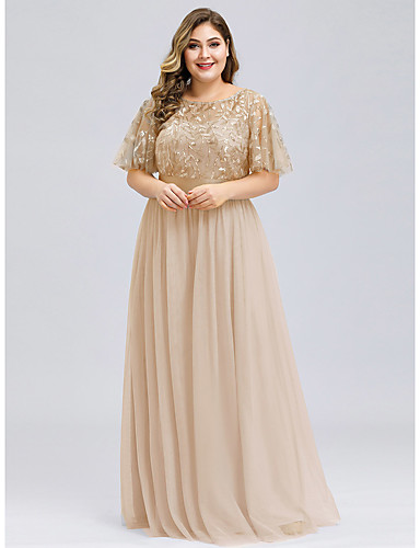 cheap Plus Size Dresses-A-Line Plus Size Gold Prom Formal Evening Dress Jewel Neck Short Sleeve Floor Length Chiffon Lace with Appliques 2020