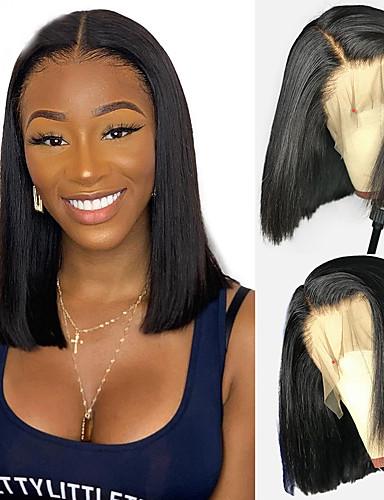 cheap Human Hair Wigs-Human Hair 4x13 Closure Wig Bob Short Bob Deep Parting style Brazilian Hair Natural Straight Natural Wig 130% Density Free Shipping with Baby Hair Natural Hairline African American Wig For Black