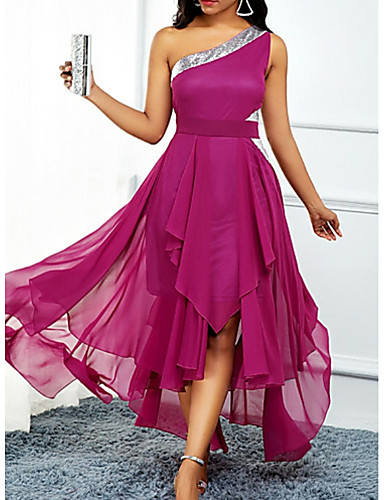cheap Plus Size Dresses-A-Line Hot Pink Wedding Guest Cocktail Party Dress One Shoulder Sleeveless Asymmetrical Chiffon with Pleats Sequin 2020