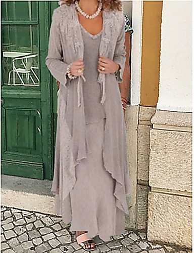 cheap The Wedding Store-Two Piece A-Line Mother of the Bride Dress Wrap Included Jewel Neck Floor Length Chiffon Long Sleeve with Appliques 2020 Mother of the groom dresses
