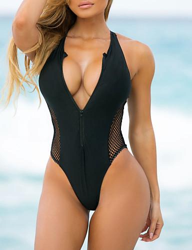 cheap Women's Swimwear-Women's Triangle Sexy Boho One-piece Swimsuit Mesh Slim Zipper Color Block Plunging Neck Swimwear Bathing Suits Black Blue Red / Padded Bras