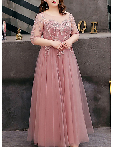 cheap Plus Size Dresses-A-Line Cut Out Plus Size Prom Formal Evening Dress Jewel Neck Half Sleeve Floor Length Tulle with Embroidery 2020