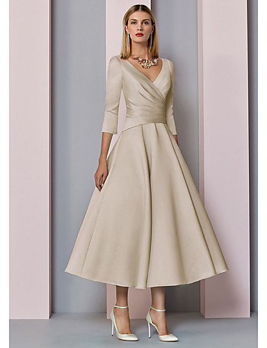 cheap Fast Delivery-A-Line Mother of the Bride Dress Elegant Vintage Plus Size V Neck Tea Length Satin 3/4 Length Sleeve with Pleats 2020 Mother of the groom dresses