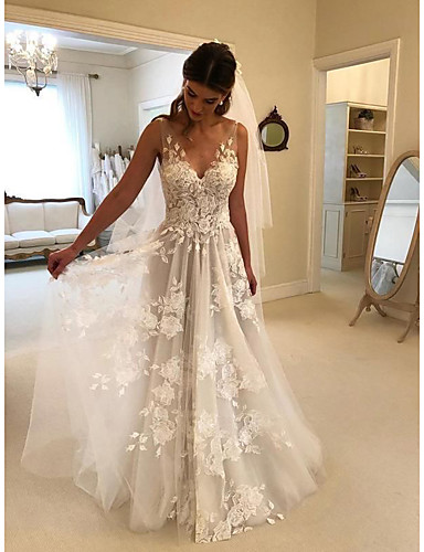 cheap Fast Delivery-A-Line Beach Wedding Dresses Lace V Neck Court Train Straps Formal with 2020