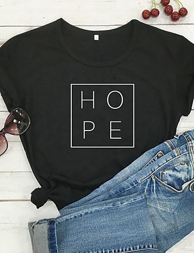 cheap Women's T-shirts-Women's T-shirt Graphic Prints Letter Print Round Neck Tops 100% Cotton Basic Basic Top White Black Purple