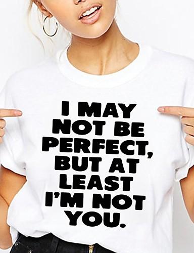 cheap Women's T-shirts-Women's T-shirt Graphic Prints Letter Print Round Neck Tops Slim 100% Cotton Basic Basic Top White Black Light gray