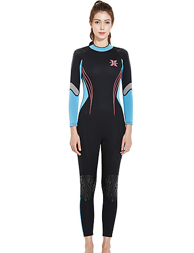 cheap Surfing, Diving & Snorkeling-Dive&Sail Women's Full Wetsuit 3mm SCR Neoprene Diving Suit Thermal Warm Long Sleeve Front Zip - Diving Water Sports Solid Colored Autumn / Fall Spring Summer / Winter / Micro-elastic / Athletic