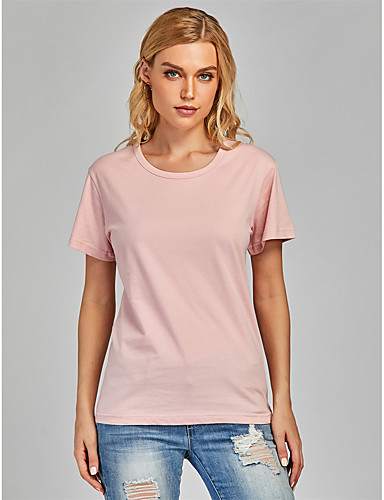 cheap Women's T-shirts-Women's T-shirt Solid Colored Round Neck Tops 100% Cotton Basic Basic Top White Black Purple