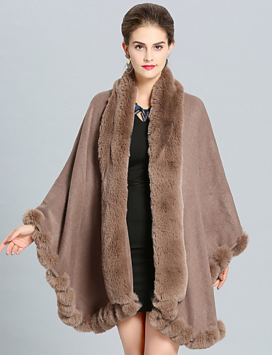 cheap Wedding Wraps-Long Sleeve Capes Faux Fur Wedding / Party / Evening Shawl & Wrap / Women's Wrap With Split Joint / Solid