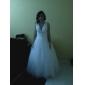 Prințesă Gât V Lungime Podea Tulle Rochie de mireasă cu Mărgele Perle Dantelă Cruce de LAN TING BRIDE®