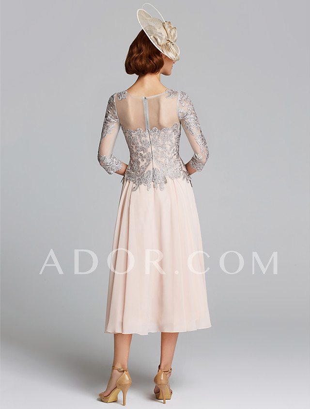 60d351fc736 ADOR A-Line Jewel Neck Tea Length Chiffon   Lace Mother of the Bride Dress  with Beading   Lace 2019 - US  119.99
