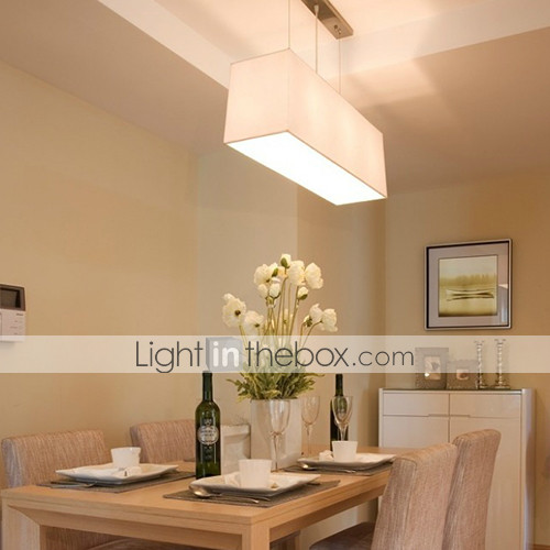 60W Acrylic Pendant Light With 3 Lights And Square Fabric Shade