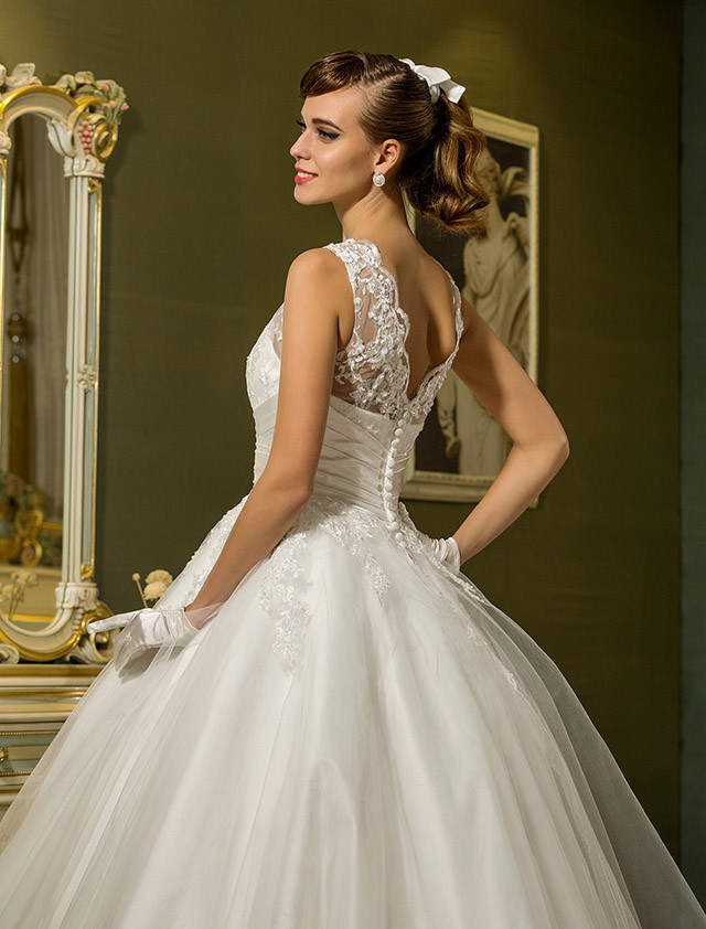 Princess Jewel Neck Ankle Length Lace Over Tulle Made-To-Measure ...