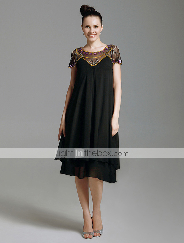 Sheath Column Illusion Neck Knee Length Chiffon Tulle Little
